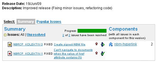 List of issues resolved for RHN v1.1